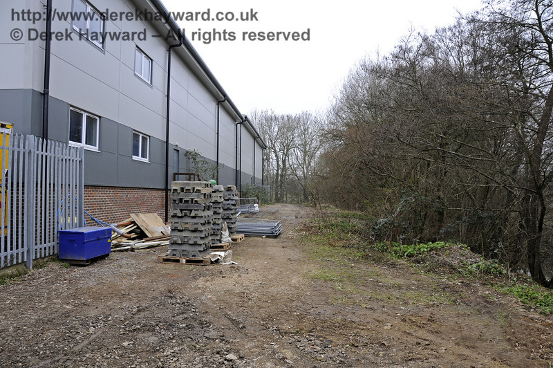 The reverse of the previous view showing the Bluebell owned strip of land which might accommodate a siding in the future if finance were available.  17.03.2011  6460