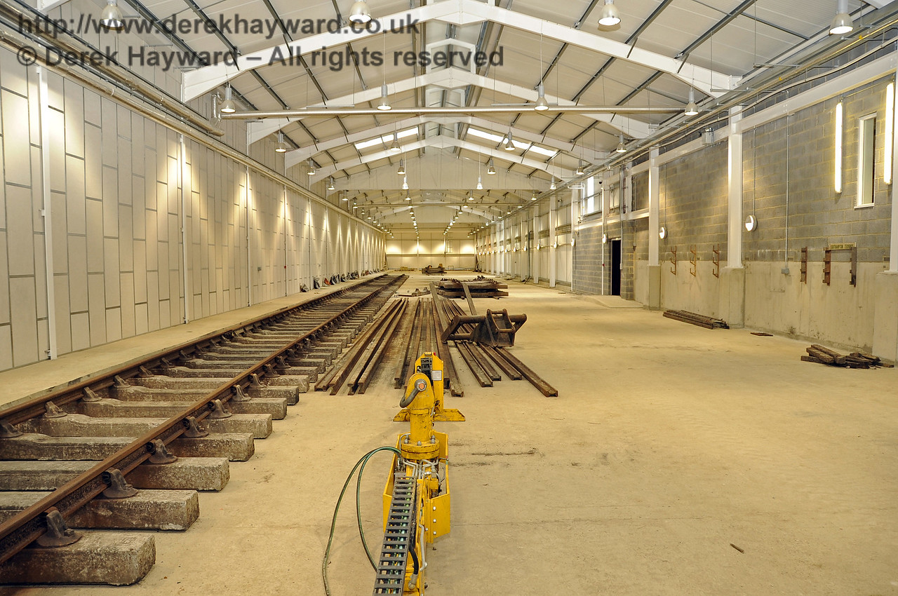 Looking north along the length of the Carriage Shed.  The track on the left is A road.  24.07.2011  2357