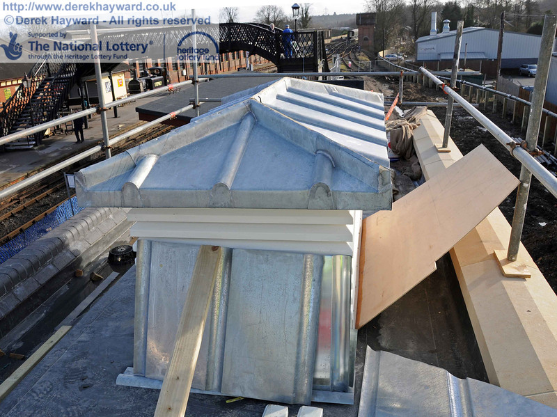 A second view of the virtually complete toilet block roof, looking south. 03.02.2011  5685