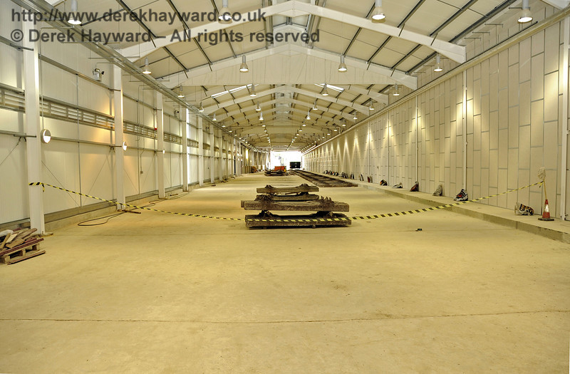 Looking south along the length of the Carriage Shed.  The track on the right will be A road.  24.07.2011  2352