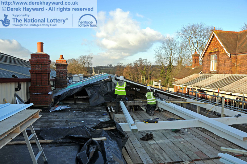 Contractors were in the process of joining the new canopy timbers to the existing canopy. The new chimney is nearest to the camera, with the chimney that was rebuilt from original materials behind it. 18.01.2011  5590