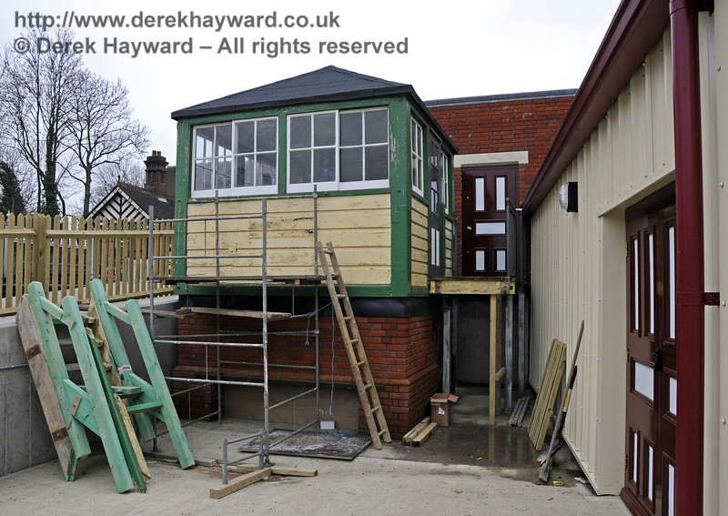 Looking south towards the Withyham signal box.  The door to the right of the signal box will be used to allow visitors to the Museum to access the box.  17.03.2011  6462