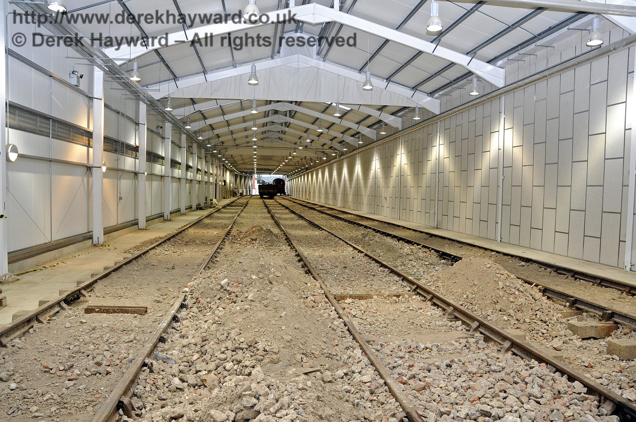 Looking south in the Carriage Shed from the buffers.  Work on the fill material has not yet finished.  21.10.2011  3022
