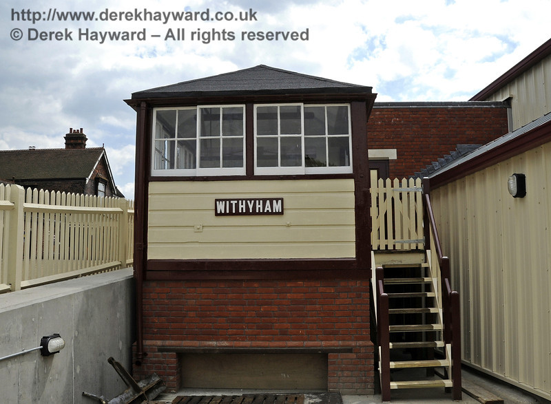 Looking south at the refurbished Withyham signal box.  Note that a gate has been fitted at the top of the steps to prevent visitors entering the area reserved for staff.  03.07.2011  2087