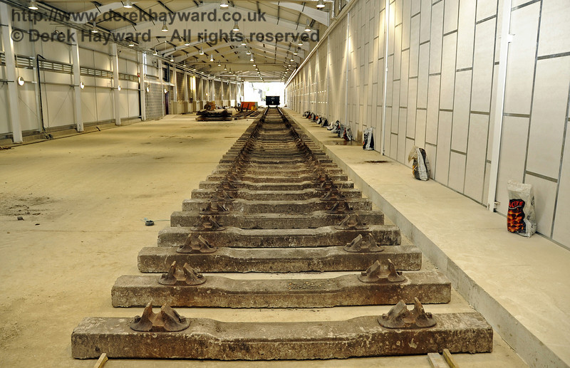 Looking south along the length of the Carriage Shed.  The track in front of the camera will be A road.  24.07.2011  2354