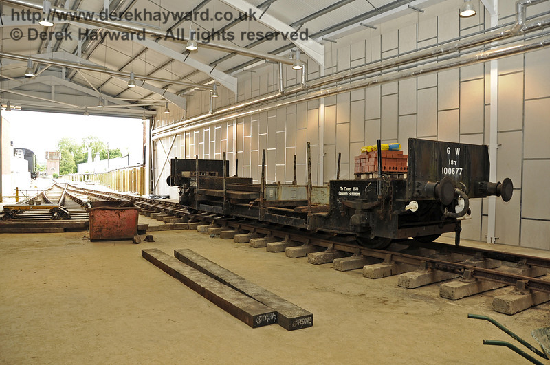 Looking south towards the Carriage Shed door with new track in the foreground.  The wagon is on what will be A road.  24.07.2011  2358