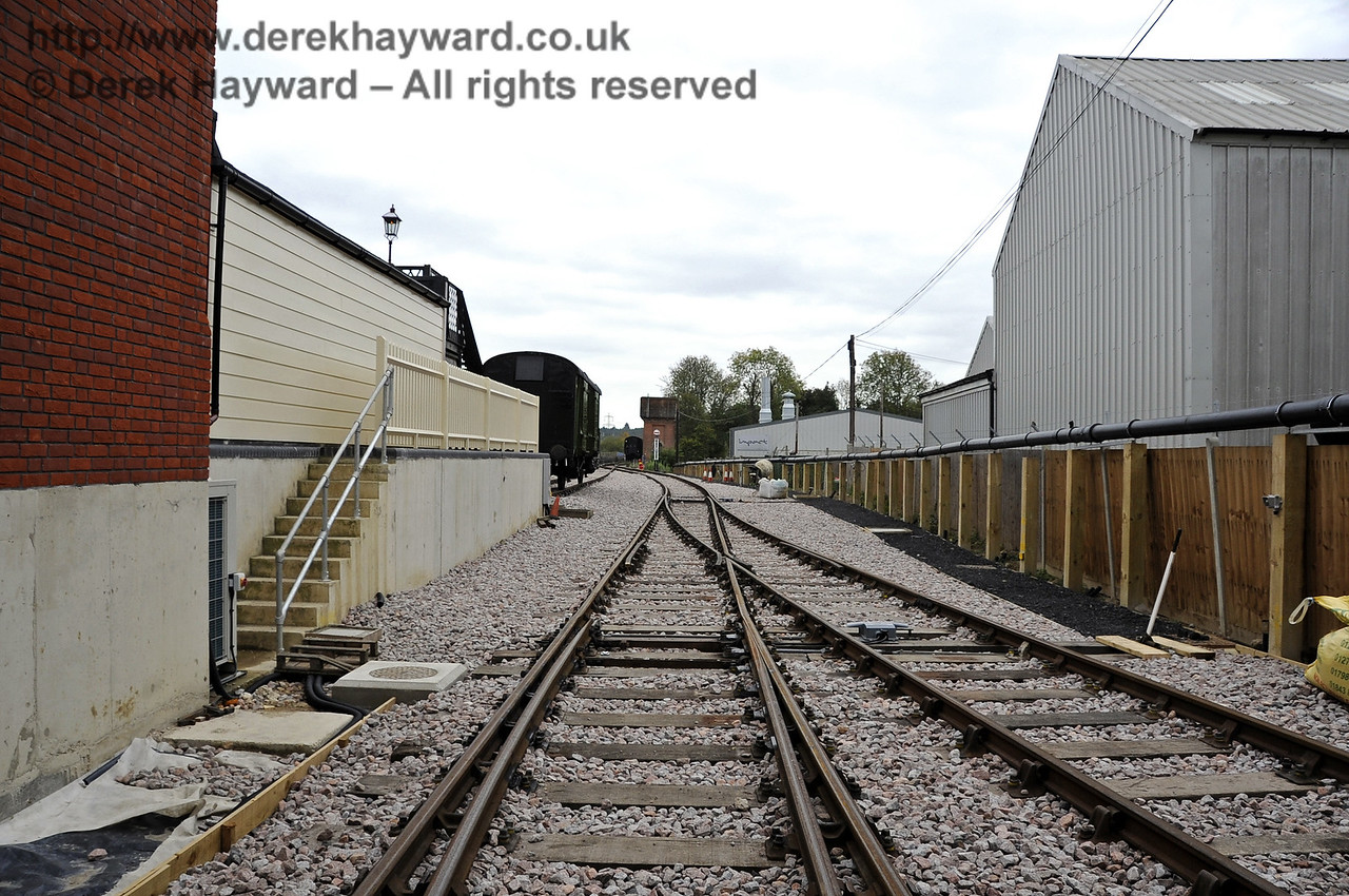 Looking south from the entrance to the Carriage Shed.  On the left a path is being prepared, and on the right a new path has been laid to the point handle.  21.10.2011  3027