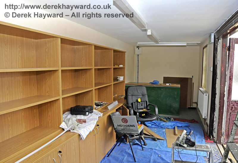 The inside of the Bulleid Society book shop (former Isfield building) is being fitted out.  17.03.2011  6367
