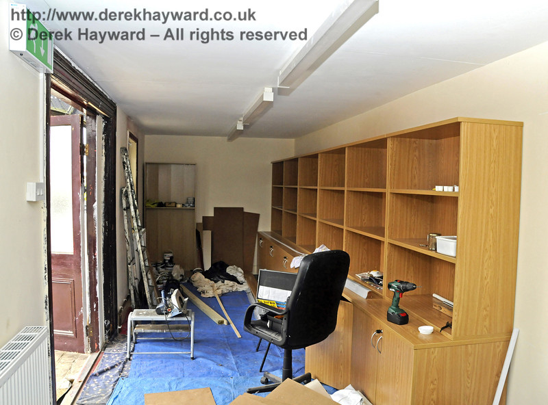 The inside of the Bulleid Society book shop (former Isfield building) is being fitted out.  17.03.2011  6366