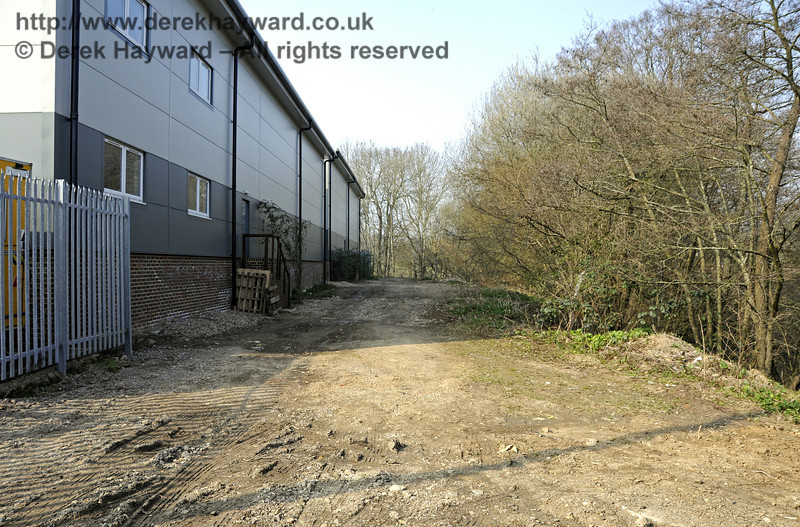 Looking north from the northern end of the Carriage Shed along a strip of land owned by the railway.  Provision has been made for a siding to be laid here should finance become available in the future, as explained earlier in the collection.  25.03.2011  6539