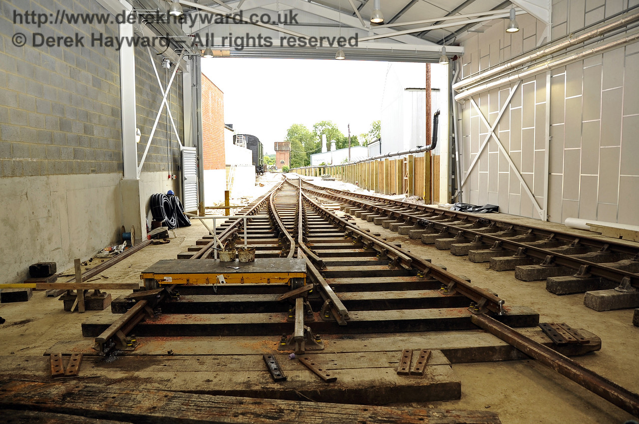 Looking south towards the Carriage Shed door with new points in the foreground, which will serve B and C road.  24.07.2011  2359