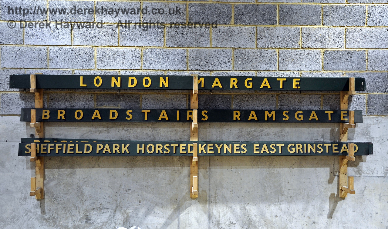 The brackets for the coach destination boards on the wall of the Carriage Shed are now in use.  21.10.2011  3033