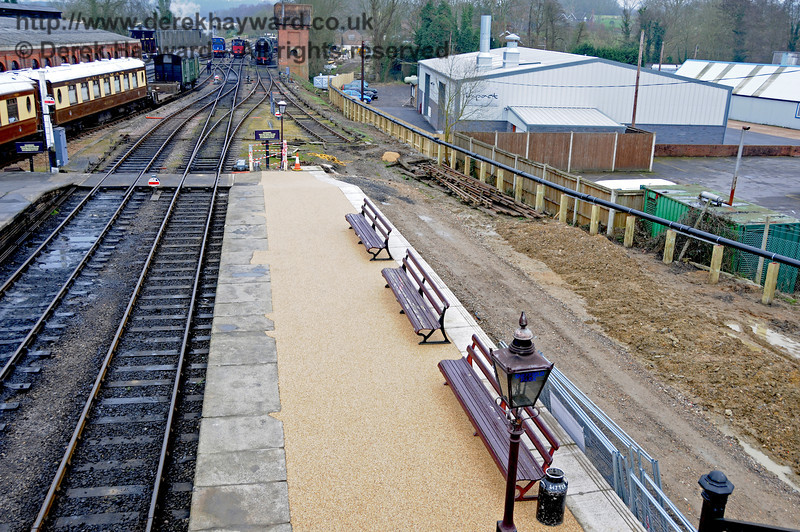 The completed stone resin surface on Platform 2, looking south from the footbridge.  13.03.2011  6325