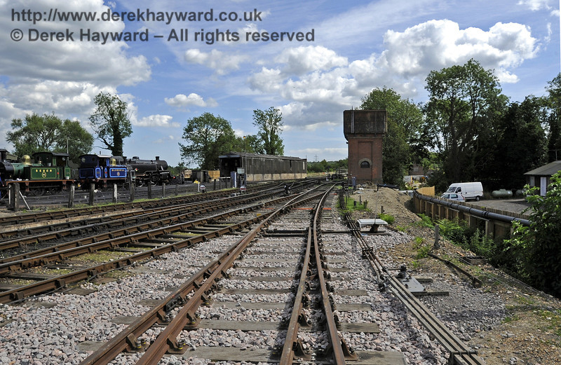 Looking south from the southern set of new points towards the water tower and Carriage Shed headshunt.  24.07.2011  2369