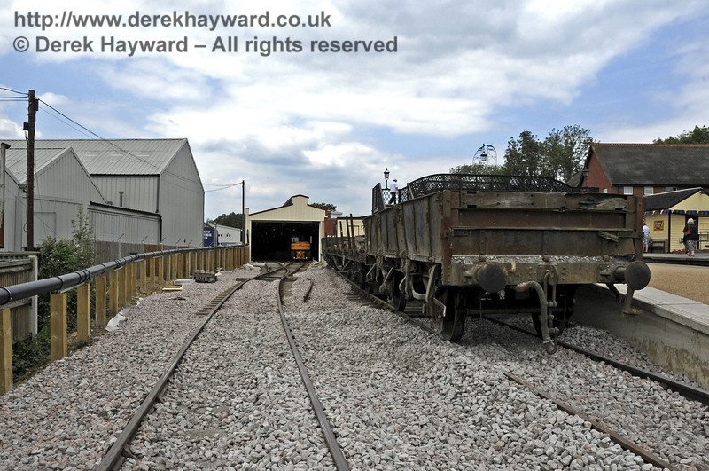 Looking north along the access to the Carriage Shed with the Dock road on the right.  Additional ballast has arrived but has yet to be distributed.   03.07.2011  2105