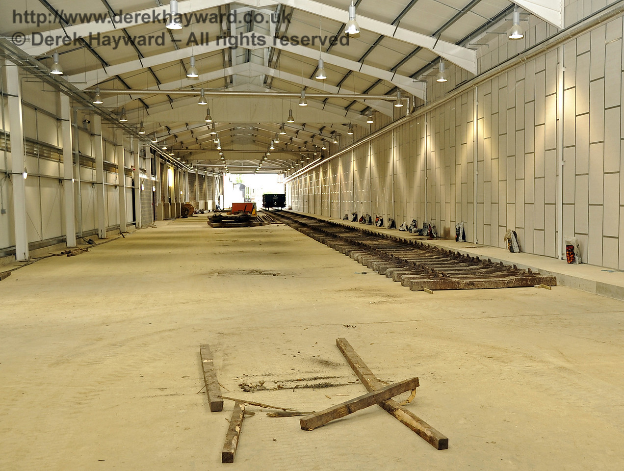 Looking south along the length of the Carriage Shed.  The track on the right will be A road.  24.07.2011  2353