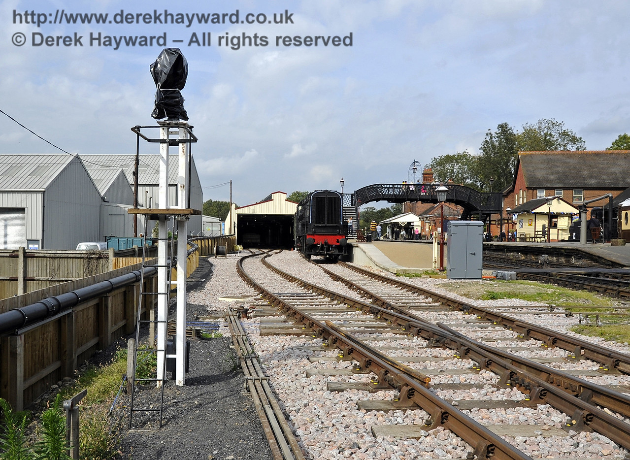 Looking north towards the Carriage Shed with one of the new shunting signals (not yet in service) on the left.  This signal will control movements south out of both the Carriage Shed and the Dock.  24.09.2011  2875