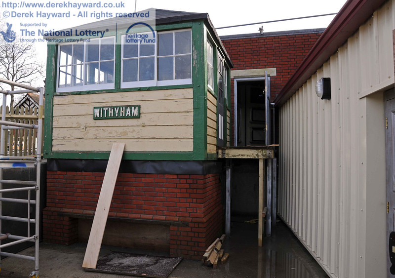 The reverse of the previous view, with the new walkway to the right of Withyham signal box. 24.02.2011  5911