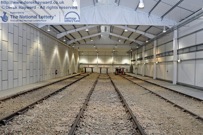 Looking north in the Sheffield Park Carriage Shed with the fill material around the tracks now level. 10.03.2012  3757