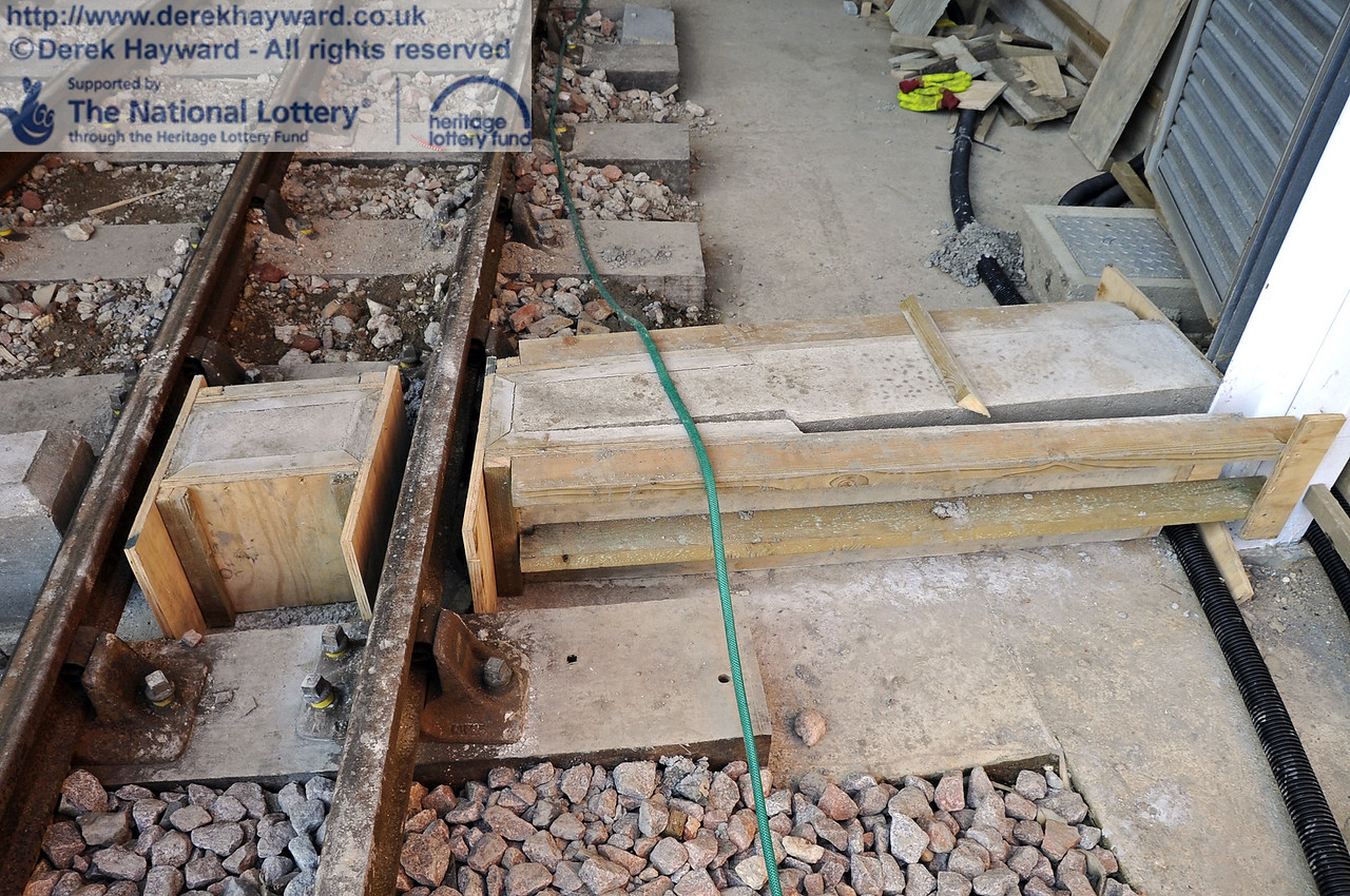 Part of the newly installed plinth on which the main carriage shed door rests.  10.03.2012  3767