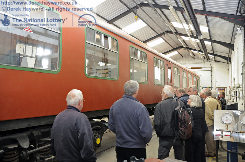 The HLF and other guests were given a tour of the existing Carriage and Wagon facilities at Horsted Keynes, conducted, in this picture, by Richard Salmon.  16.06.2012  5095