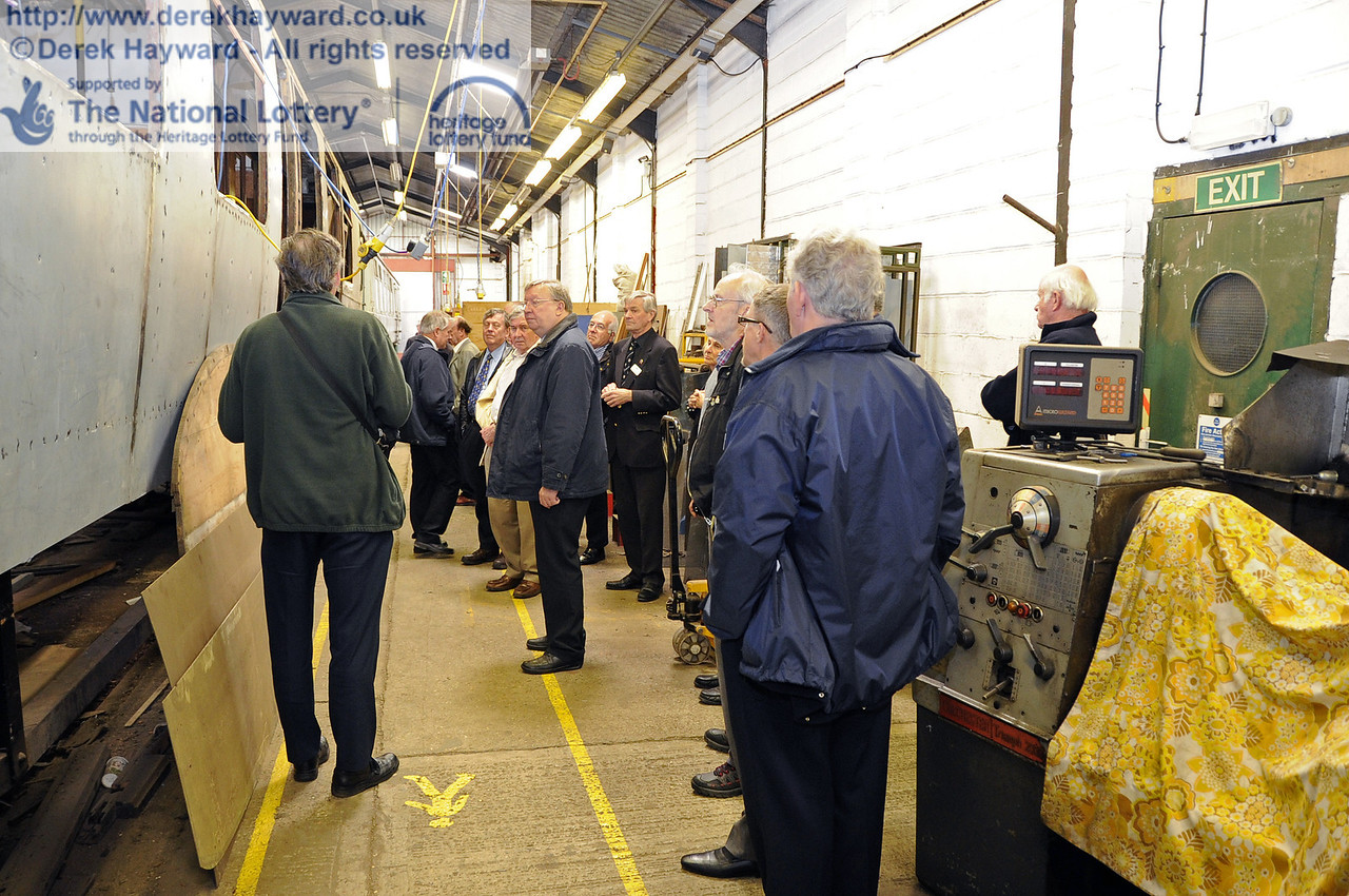 The HLF and other guests were given a tour of the existing Carriage and Wagon facilities at Horsted Keynes, conducted, in this picture, by Richard Salmon.  16.06.2012  5085