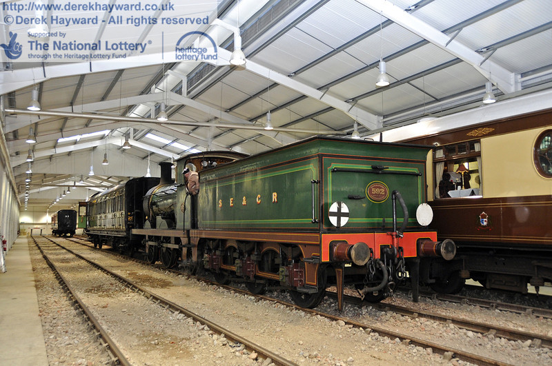 The Sheffield Park Carriage Shed is now in operational use.  592 collects the Birdcage Brake from Road B. 15.04.2012  4487