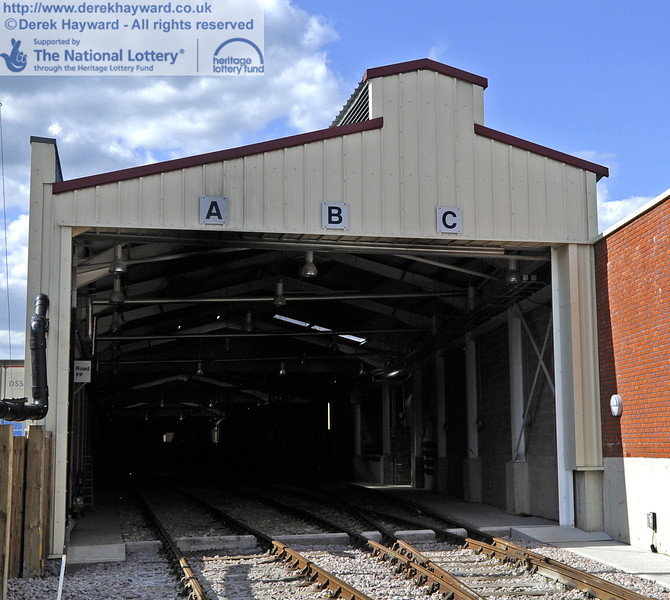 The Sheffield Park Carriage Shed with new signs to designate the roads.  12.05.2012  4719