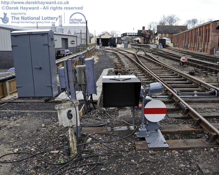 Looking north towards the carriage shed with the new ground signal in shot.  20.03.2012  3892