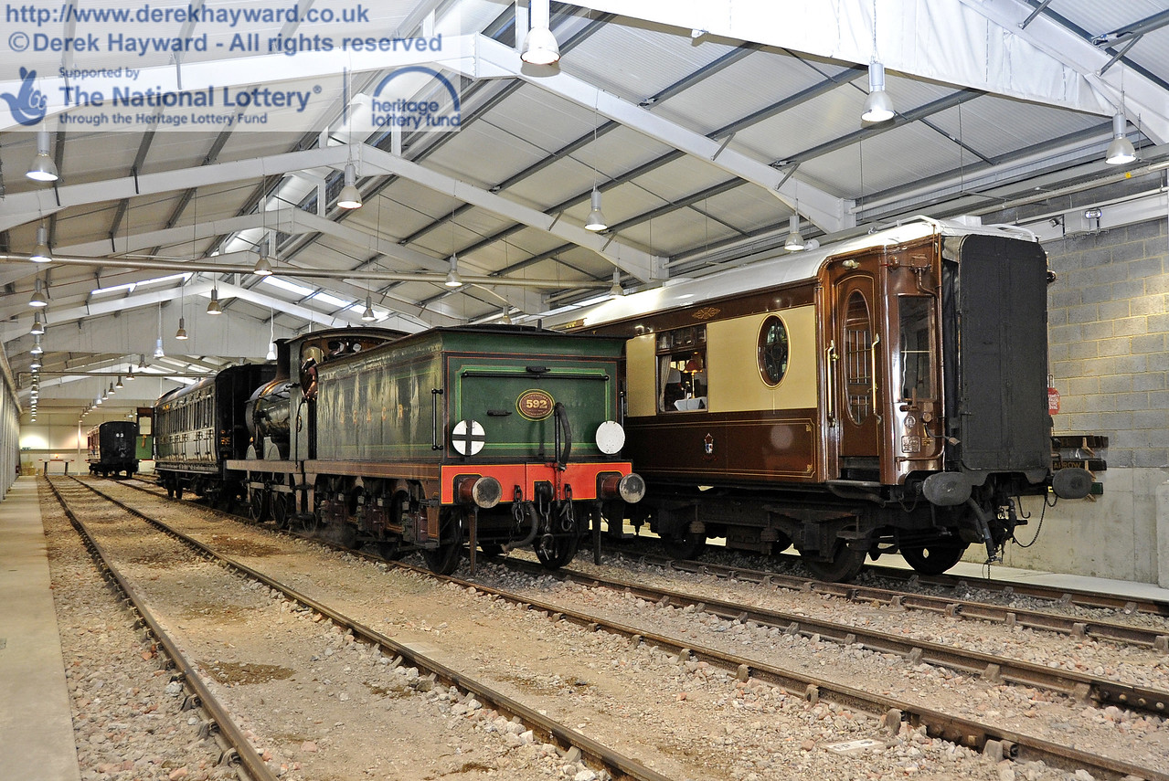 The Sheffield Park Carriage Shed is now in operational use.  592 collects the Birdcage Brake from Road B. 15.04.2012  4488