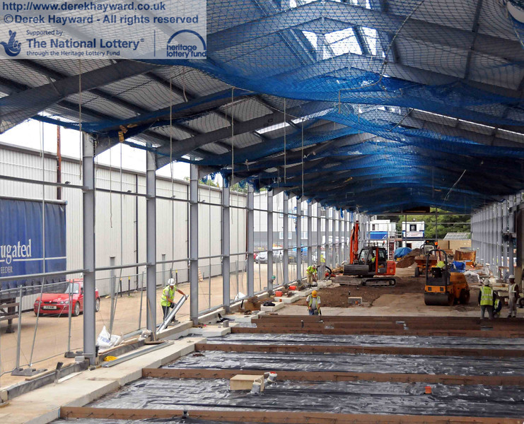 Looking north in the carriage shed, with preparations in progress to lay the first half of the concrete floor. 06.08.2010  3615