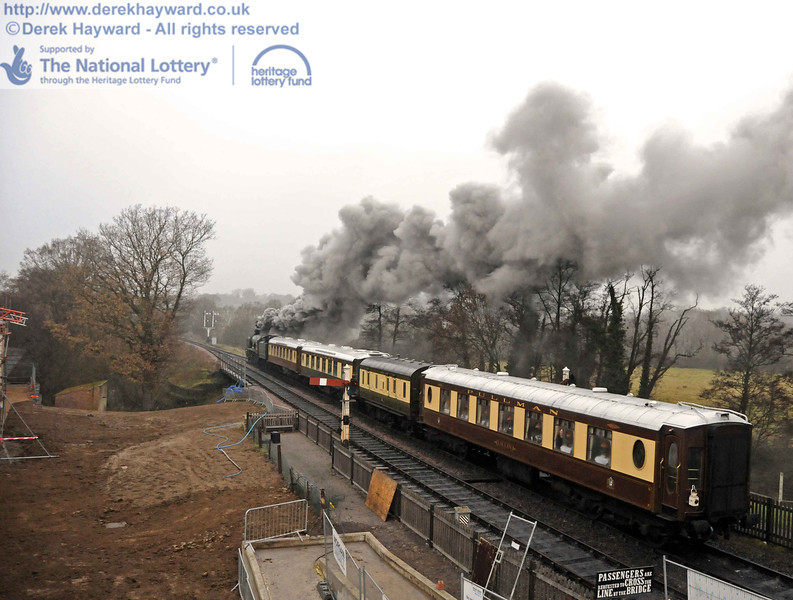 A unique photographic viewpoint as 34059 departs with a private Pullman charter. 15.12.2010  5492