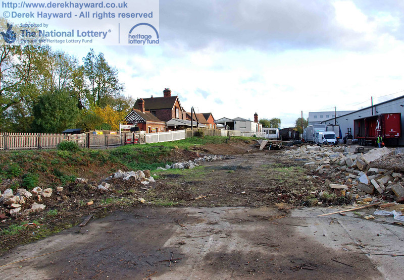 Another view looking south down the site. On the right industrial units used by Bluebell's neighbours remain in operation. 23.10.2009.