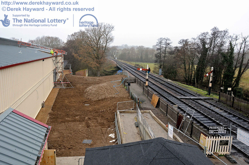 Looking north down from the Museum roof. The section north of the station is being landscaped, with the area sloped so that water runs naturally down to the River Ouse, to the right of the old Pump House in the distance. 15.12.2010  5478