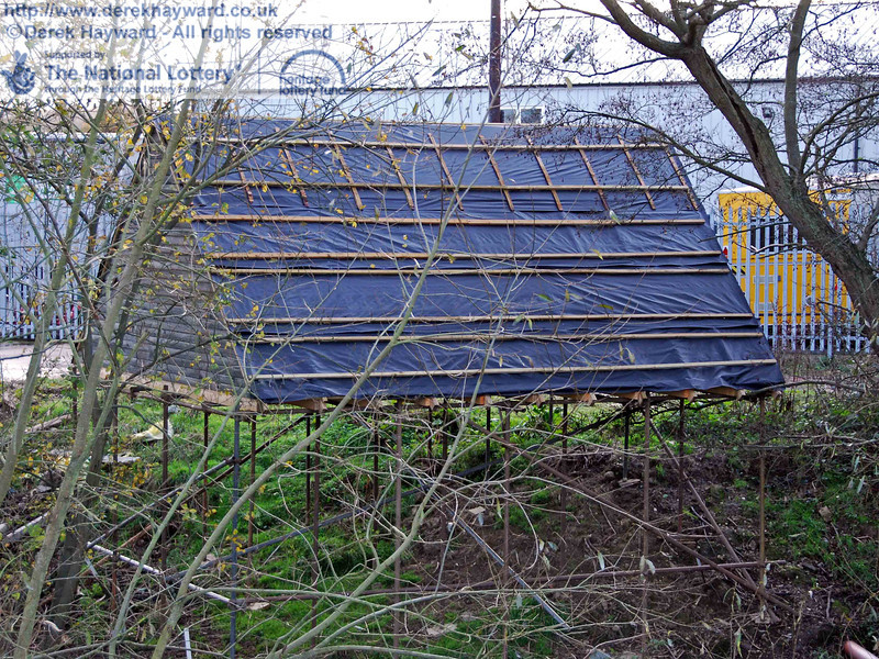 The rear of the temporary bat roost viewed from the railway embankment. 15.11.2009