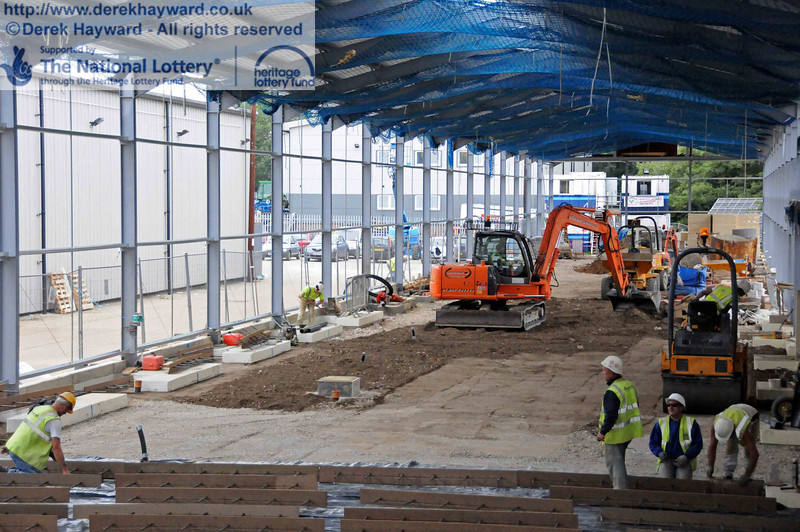 Looking north in the carriage shed, with preparations in progress to lay the first half of the concrete floor. 06.08.2010  3612