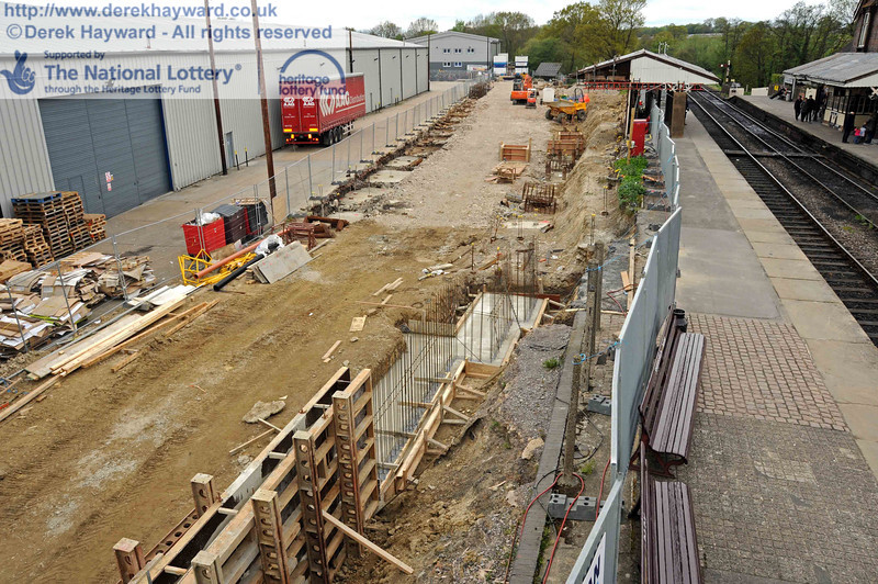 A general view north over the Woodpax site on 08.05.2010.  It can be seen that the concrete foundations and above ground construction continues to progress north.  2355