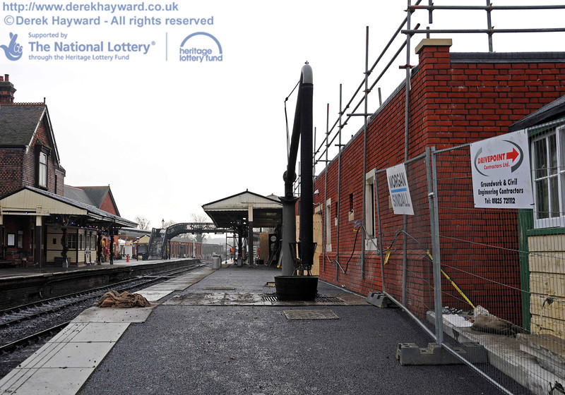 Looking south down the newly resurfaced Platform 2, past the water crane.  The final surface cannot be applied until the weather is more suitable and the ambient temperature higher. 15.12.2010  5434