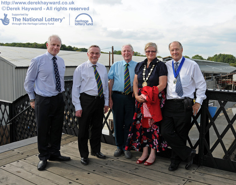 Roy Watts, Chairman BRPS with some of the distinguished guests. (Left to right) Councillor Paul Johnson (Deputising for the Mayor of East Grinstead), Councillor Jim Joyce-Nelson, Jane Keel (Chairman, Mid-Sussex District Council) and Simon Keel (Mid-Sussex).  04.09.2010  4555