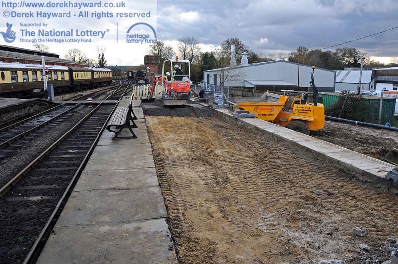 Resurfacing Platform 2 at Sheffield Park, looking south. 16.11.2010  5343