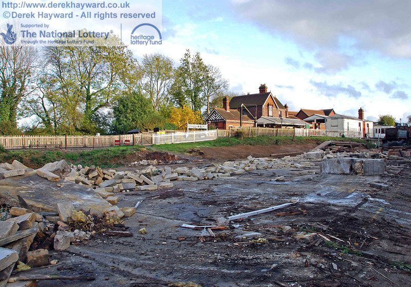 Looking south east, across the site towards Sheffield Park station. At the time that this picture was taken some rubble remained to be cleared. 23.10.2009.