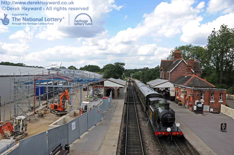 A general view of the site as B473 arrives at Sheffield Park with a service train. 28.07.2010  3525