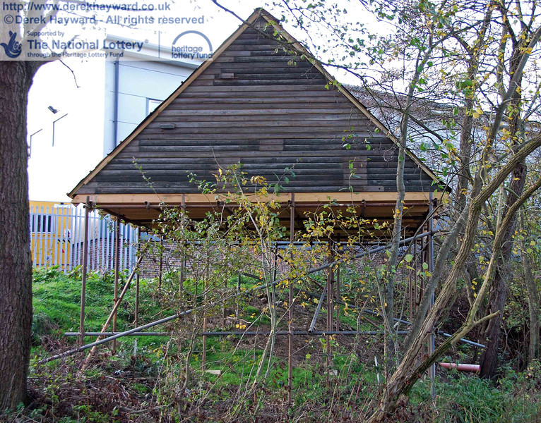The side of the temporary bat roost viewed from the railway embankment. 15.11.2009