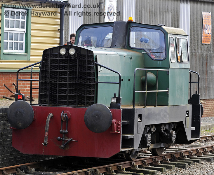 "Sentinel/Rolls-Royce/Thomas Hill 4-w Diesel-Hydraulic loco No.10241 ""Skippy"" taking a break in the Dock at Horsted Keynes.  21.03.2014  8802"