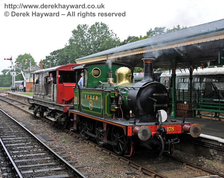 178 stands at Horsted Keynes whilst providing Brake Van rides down the Ardingly spur.  21.08.2010  4165