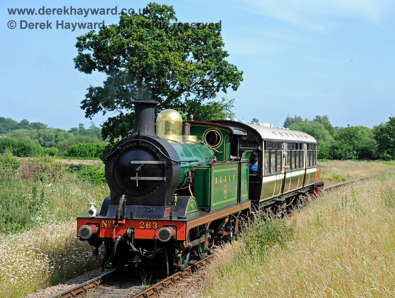 263 near Ketches Halt, with Captain Baxter lurking at the other end of the Observation Car. 27.06.2015 11535