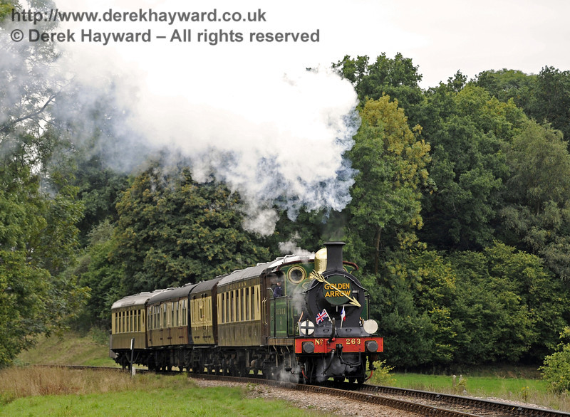 263 rounds the bend north of Three Arch Bridge with the Golden Arrow.  22.09.2013  8110