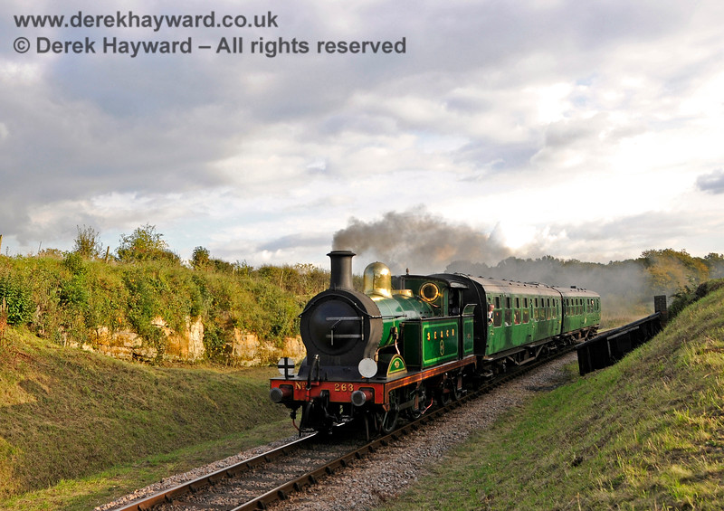 263 passes through Rock Cutting with a short service train. 20.10.2015 13879