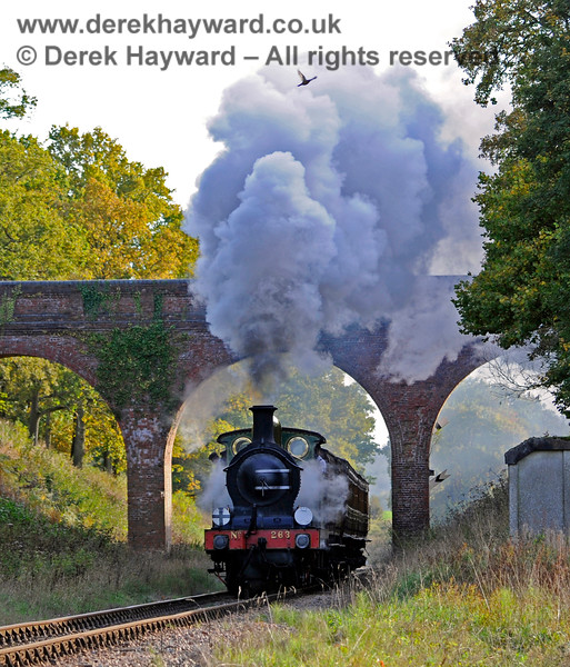 263 gives a steam display as it passes through Three Arch Bridge.  Look at the very top of the image and a pheasant can be seen trying to escape the cloud. 25.10.2015 12325