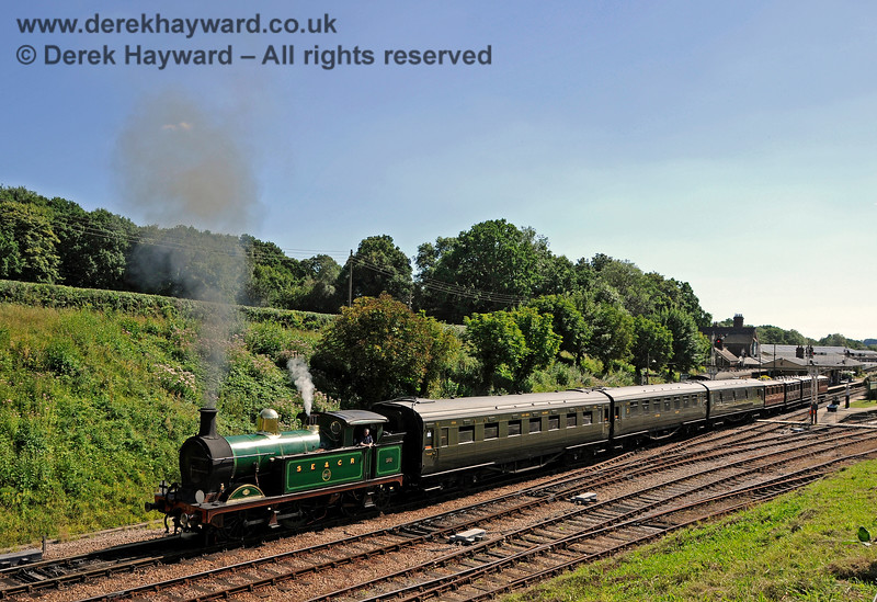 263 steams north from Horsted Keynes with a service train. 06.08.2016 15911